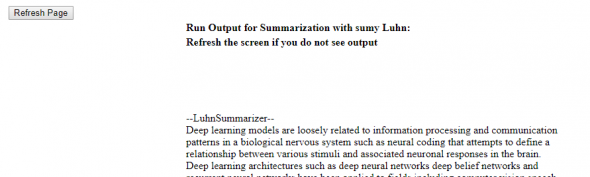Running online text summarization -  example of output